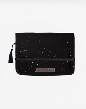 Diaper Clutch coming storm in black with white dots