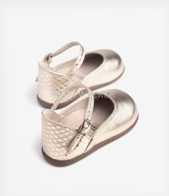 ba262b9fc27 Babywalker παπούτσι γαλλικό μεταλιζέ γοβάκι Gold | Tiny Toes